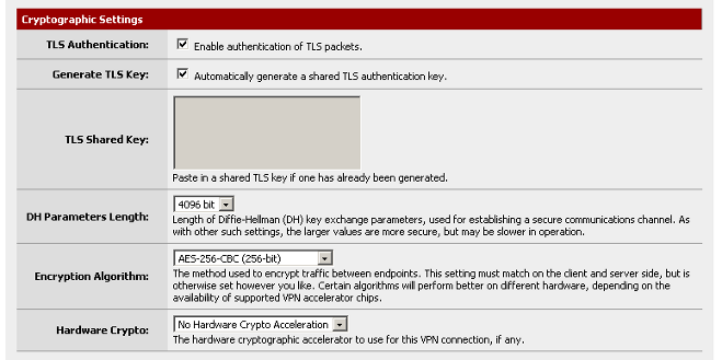 Cryptographic Settings